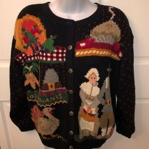 VTG NORTHERN ISLES THANKSGIVING CARDIGAN SWEATER S